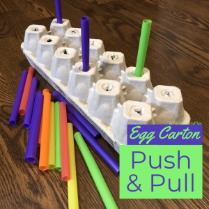 Toddler Activity Egg Carton Push and Pull