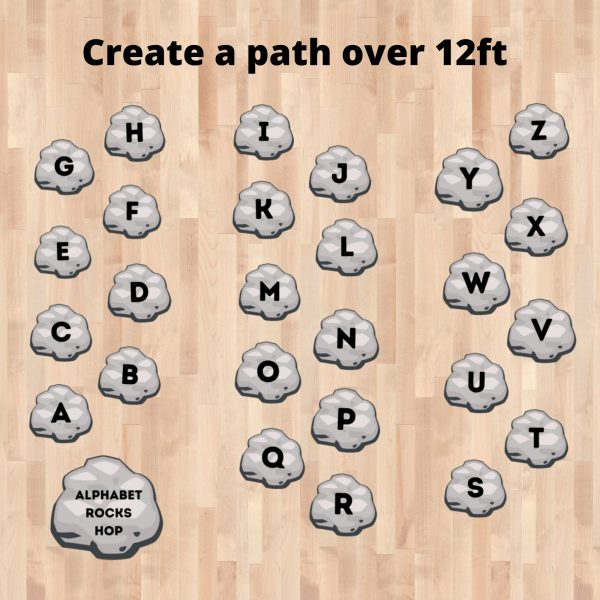 alphabet sensory floor decal stickers alphabet rocks