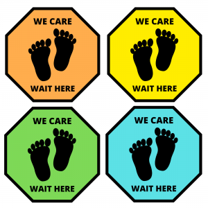 social distancing floor stickers for kids we care bright colors Canada US